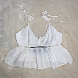 For Love & Lemons Iris Crop Top Ivory